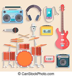 Musical instruments. Flat design. Vector
