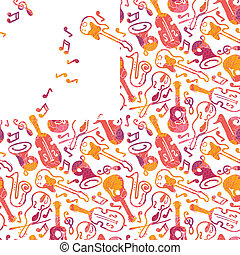 Colorful musical instruments seamless pattern - Vector...