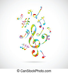 Colorful Musical Note Background - illustration of abstract ...