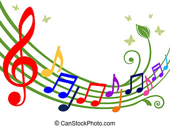 Music theme - dancing colorful notes on white background. Full scalable vector graphic included Eps v8 and 300 dpi JPG, change the colors as you like.