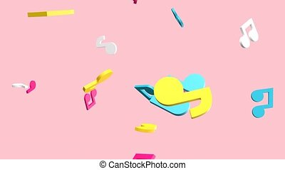 Colorful musical notes on pale pink background. Camera moving backward.3d rendering abstract animation.