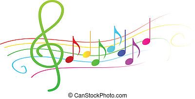 Colorful Musical Notes On Stave Vector Illustration