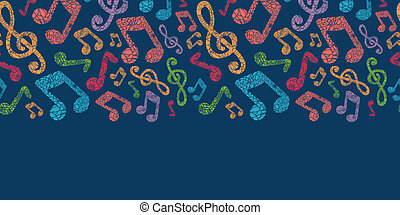 Colorful musical notes seamless pattern background - Vector...
