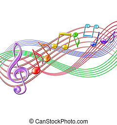 Colorful musical notes staff background on white.