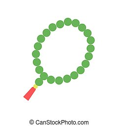 Colorful Muslim rosary with green beads and red tassel. Religious accessory, symbol of Islam. Cartoon flat vector icon isolated on white