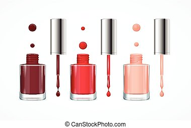 Colorful Nail Polish Open Bottle Set. Vector