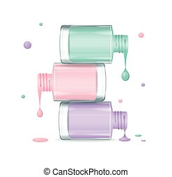 Colorful Nail Polish Set Dripping. Vector - Colorful Nail...