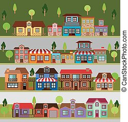 colorful natural landscape with set of scenes in strips of country village