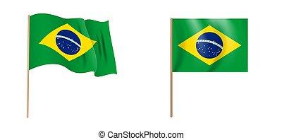colorful naturalistic waving Brazilian flag. Vector Illustration