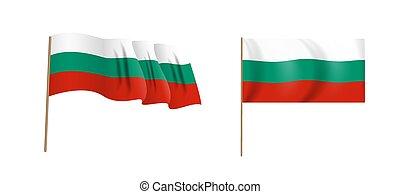 Colorful naturalistic waving Bulgaria flag. Vector Illustration