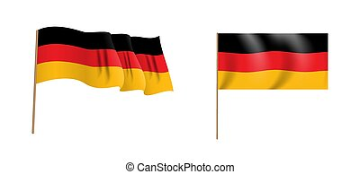 Colorful naturalistic waving Bundesrepublik Deutschland flag. Vector Illustration