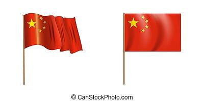 colorful naturalistic waving China flag. Vector Illustration