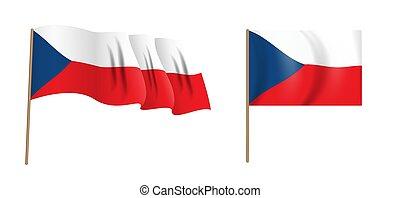 colorful naturalistic waving Czech Republic flag. Vector Illustration