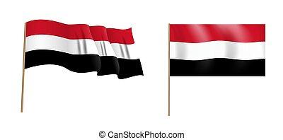 colorful naturalistic waving Egypt flag. Vector Illustration