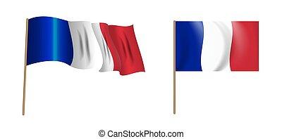 colorful naturalistic waving flag of France. Vector Illustration