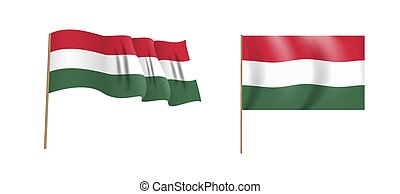 Colorful naturalistic waving flag of Hungary country. Vector Illustration