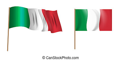 colorful naturalistic waving flag of Italy. Illustration