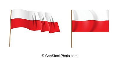 colorful naturalistic waving flag of Poland. Vector Illustration