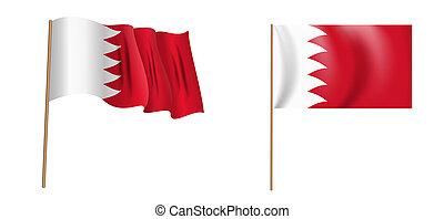 colorful naturalistic waving flag of the Kingdom of Bahrain. Illustration.