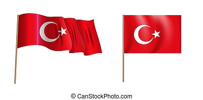 colorful naturalistic waving flag of Turkey. Vector Illustration