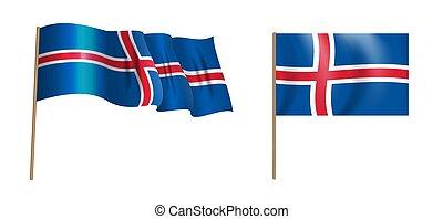 colorful naturalistic waving Island flag. Vector Illustration