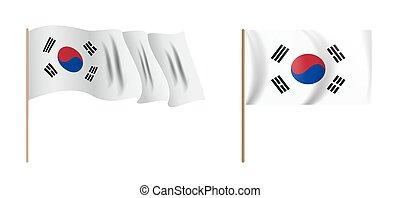 colorful naturalistic waving Korea flag. Vector Illustration