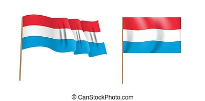 colorful naturalistic waving Luxembourg flag. Vector Illustration
