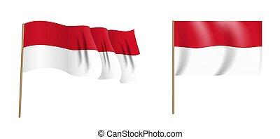 colorful naturalistic waving Monaco flag. Vector Illustration