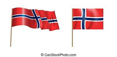 colorful naturalistic waving Norway flag. Vector Illustration