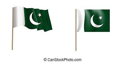 colorful naturalistic waving Pakistan flag. Vector Illustration
