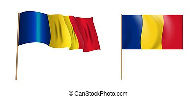 Colorful naturalistic waving Romania flag. Vector Illustration