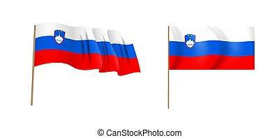 colorful naturalistic waving Slovenia flag. Vector Illustration