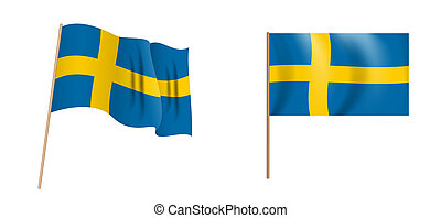colorful naturalistic waving Sweden flag. Illustration on white