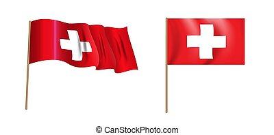 colorful naturalistic waving Switzerland flag. Vector Illustration