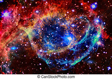 Colorful nebula in outer space.