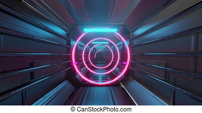 Colorful neon concentric circles moving over futuristic passageway. vintage colour and movement concept digitally generated image.