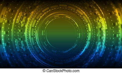 Colorful neon glowing tunnel technology video animation