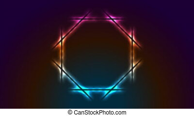 Colorful neon luminous octagon frame abstract retro motion background. Video animation Ultra HD 4K 3840x2160