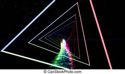 Colorful neon triangle tunnel