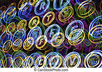 Colorful neon typewriter keys