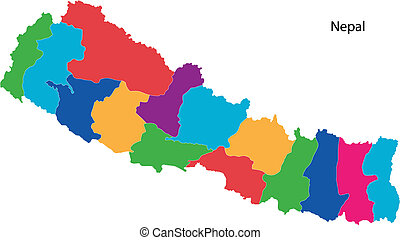 Colorful Nepal map - Map of administrative divisions of...