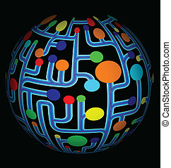 Colorful net abstract globe vector