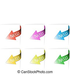 Colorful new corner ribbons set - arrows pointing at the...