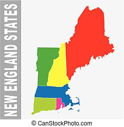 Colorful New England States administrative and political...