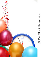 Colorful balloons and clock on a white background