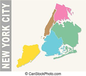 Colorful New York City administrative and political vector map