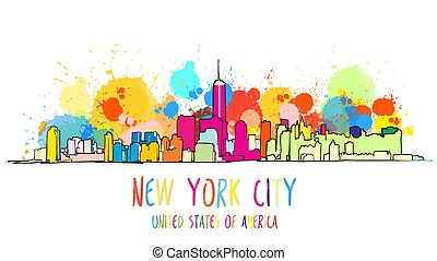 Colorful New York City Skyline Drawing.