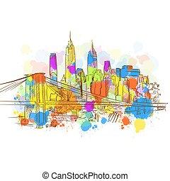 Colorful New York Metropolis Sketch
