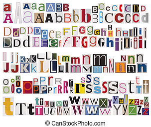 Colorful newspaper alphabet