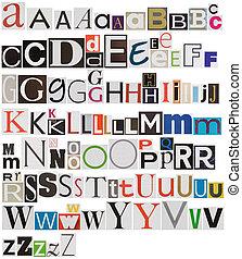 Colorful newspaper alphabet